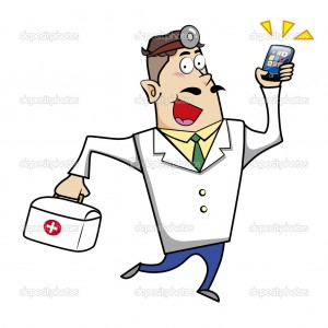 Cartoon Doctor with First Aid Kit and Mobile Phone